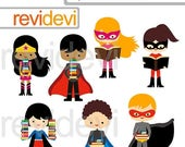 35% OFF SALE Superhero clipart/ superhero kids holding books/ reading and books clipart/ commercial use digital clipart