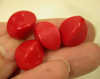 VINTAGE LUCITE Beads German RED Oval Twist 15x10mm pkg4 res214