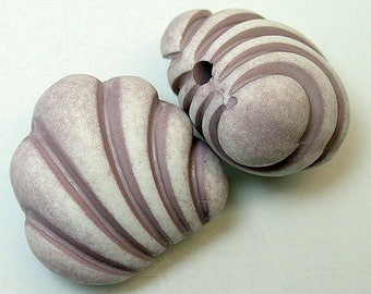 Vintage Italian Lucite Beads FOCAL Purple White Shell Shape 21mm pkg2 res330