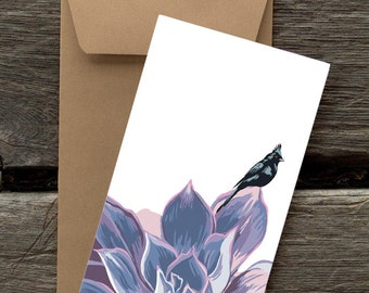 Phainopepla in Succulent: Pack of 8 eco-friendly flat cards