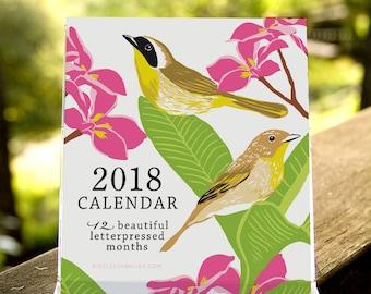 Birds & Gardens Letterpressed 2018 Desktop Calendar