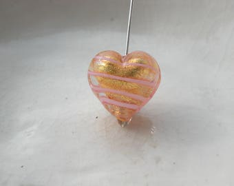 Murano Gold Glass Heart Bead , 13mm