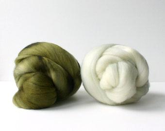wool roving set, weaving creative yarn bundle, handspinner, hand dyed merino wool, hand spinning .. flax