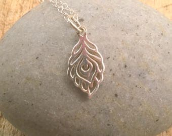 Peacock Pendant, Sterling Silver Necklace, fun gift,