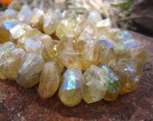 Citrine Beads Large Mystic AB faceted nuggets - 4 inch strand - 12mm X 6mm