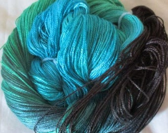 Hand dyed Tencel Yarn - 4/2 Tencel Lace Wt. Yarn  JADE - 420 yards
