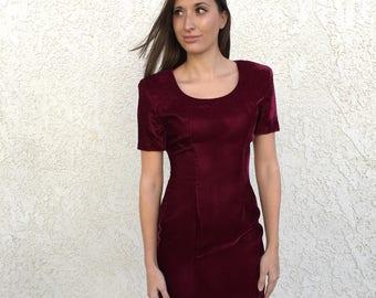 Vintage 80's burgundy velvet mini dress