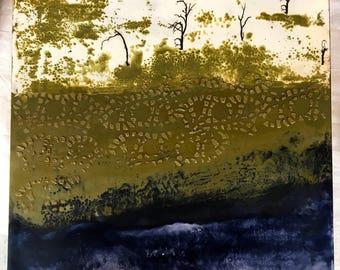 original encaustic painting-  Five Trees