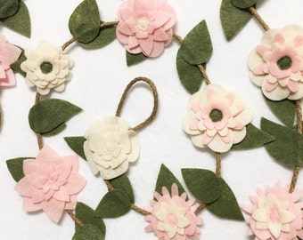 Flower Garland, Blush Pink Flowers, Felt Flowers, Posable Twine, Mantle Decoration, Wedding and Party Decoration, Gift under 50