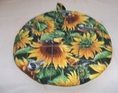 Quilted Hot Pad or Pot Holder Yellow Sunflowers and Birds Robins and Canary's Round Cotton Fabric 9 Inches Insulated Trivet Gift