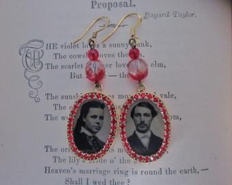 Antique Tintype Earrings with Red Rhinestones Gem Tintype Earrings