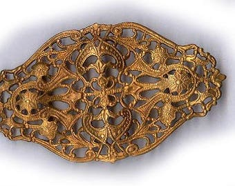 vintage brass filigree stamping fancy shape, ornate nice size vintage filigree old finding connector antique filigree