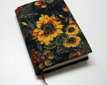 Book cover, TRADE SIZE, paperback book protector, cotton, padded cover, ribbon bookmark, Gorgeous sunflowers!