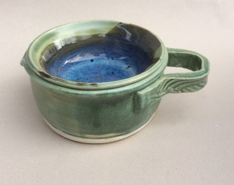 handmade ceramic shaving scuttle/men's shaving/ gift/green and blue/pottery/ in stock  S6