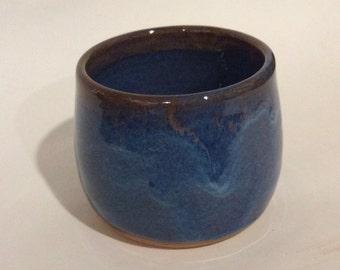 Blue handle-less mug, cup glazed-hand made ceramic pottery, ready to ship B104