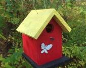 Chickadee Wren Songbird Red Yellow White Butterfly Birdhouse Wooden Handmade Country Birdhouse