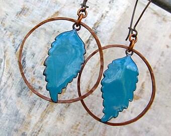 Turquoise earrings copper Enamel earrings feather drop earrings Copper dangle earrings bohemian jewelry - torch enamel copper jewelry