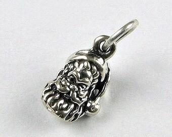 SALE 60% OFF Santa Face Sterling Silver .925 3D Charm Pendant (1 piece)