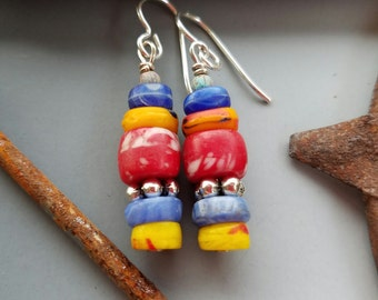 Vintage Prosser Bead Earrings in Red Blue and Yellow