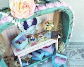 SALE Shabby Chic Turquoise Shadowbox featuring Marie Antoinette and Cupcakes
