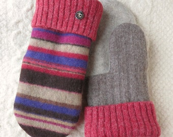 Sweater Wool Mittens, Red, Brown and Purple Stripes, Eco-Friendly Lined Felted Wool Mittens