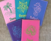 Personalized Passport Cover for Women - Faux Leather Passport Holder - Tropical Vacation Passport Cover for Besties- Travel Gift for Her