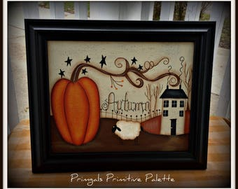Primitive Fall Autumn Pumpkin 8 x 10 Framed Canvas Home Decor Wall Art