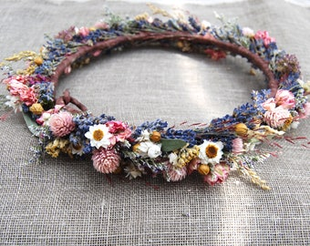 Summer Flower Crown Lavender and Pink, White, Yellow Dried Flowers for Brides, Bridesmaids, Flower girls and Wedding Babies