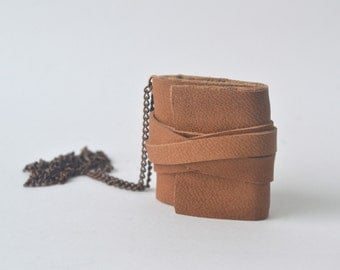 Light Brown Mini Book Necklace, Leather Journal Pendant, Hand Bound Blank Book, Dark Brown Book