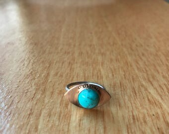 brass and turquoise handstamped sterling stacking ring evil eye protection