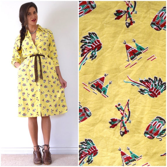 SPRING SALE/ 20% off Vintage 90s Native American Novelty Print Butter Yellow Corduroy Cotton Snap Button Long Sleeved Shirt Waist Dress (siz