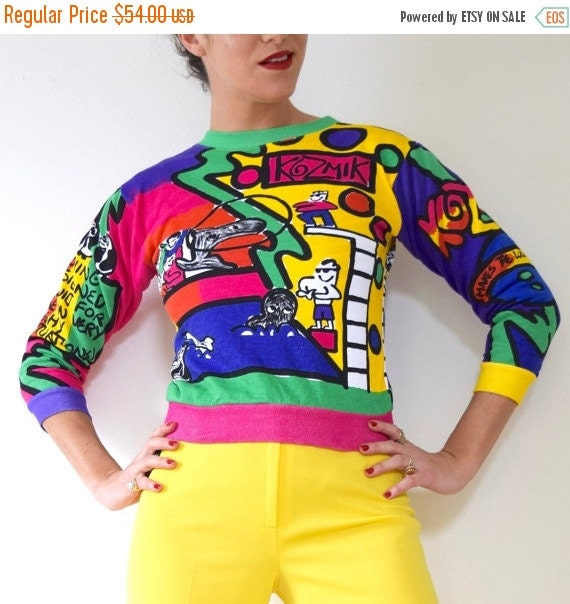 JANUARY SALE / 20% off Vintage 80s 90s Big Fish Park Novelty Print Cropped Cotton Sweatshirt (size xs, small)