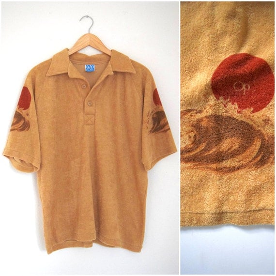 Vintage 70s 80s Totally Tubular OP Sand Terrycloth Short Sleeved Collared Shirt with Ocean and Sun Screen Printed Sleeves (size M)