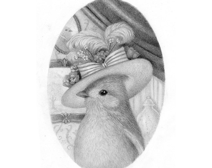 Bird Drawing Original Art Pencil Black and White Nature Cute Whimsical