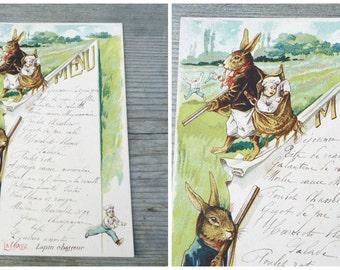 Vintage Antique  1919 French Menu /Menu sheet / Sport thema Hunting Rabbit
