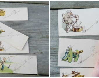 Vintage Antique  1919 French set of 4 cards to place guests for a dejeuner