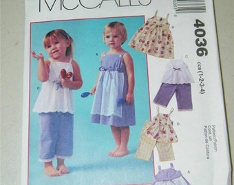 McCalls 4036 Cozy Togs Girls Dress Top Capris Pattern 12638 Size 1 - 4 UNCUT