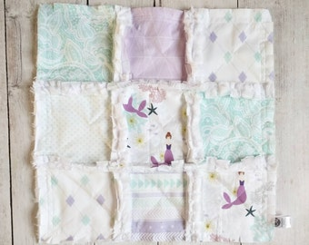 Lavender & Mint Mermaid Minky Rag Quilt Lovey -  Baby Girl Gift - Stroller Blanket - Mermaid Gift - Mini Quilt - Mermaid Lovey