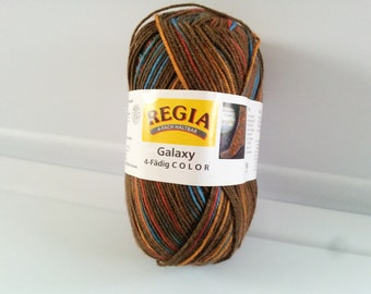 One 50 gram skein Regia Galaxy sock yarn brown variagated