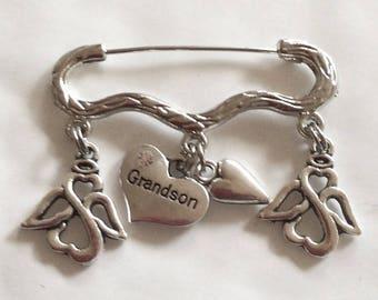 Memory memorial 'grandson' heart Angel silver tone brooch/ pin in memoriam
