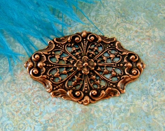 ANTIQUE COPPER * Floral Filigree Stamping ~ Jewelry Findings ~ Brass Stamping (CA-3071 B)