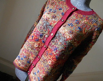 Vtg Fair Isle floral embroidery cardigan, TALBOTS silk cotton wool linen - women sz large L