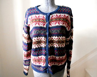 Fair Isle indigo cardigan, ramie cotton - Paul Harris - women medium large