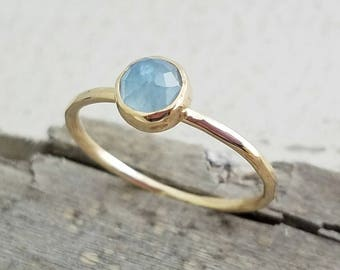 14k Gold Aquamarine Gemstone Ring March Birthstone Stacking Ring - Mother's Ring - Simple Minimalist