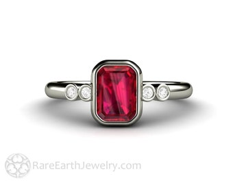 Ruby Engagement Ring Bezel Set Ruby Ring Emerald Cut with Diamonds 14K or 18K Gold Platinum
