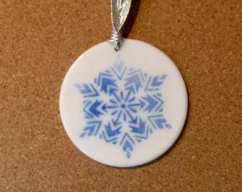 Fused Glass Ornament - Christmas Sun Catcher - Fused Glass Sun Catcher - Fused Glass Holiday Decor - Fused Glass Snowflake