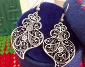 Portuguese Viana Heart filigree aged silver earrings