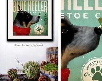 Blue Heeler Australian Cattle Dog Mistletoe Company dog signed artist's print by stephen fowler geministudio