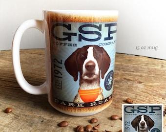 GSP German Shorthaired Pointer dog coffee mug graphic art MUG 15 oz  ceramic coffee mug