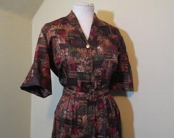 Modern Art satin Vintage Dress Fall Copper Print 60s Pleated dress Brass buttons 60s Shirtdress Rust and Green satin dress shirtwaist L